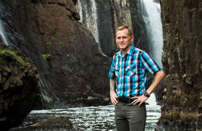 Mr. Sanders standing by Great Falls; WP  Magazine